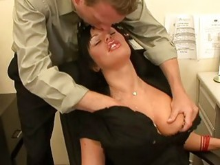 enormous chested milf dark brown takes large