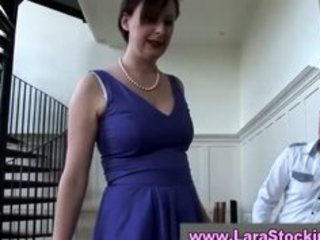 chic aged lady in nylons conquers guy