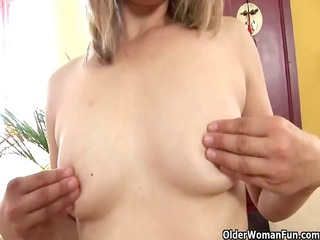 older mommy with petite mangos and hard nipples