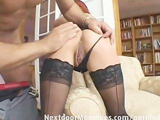redhead mamma swallows cum from a big jock
