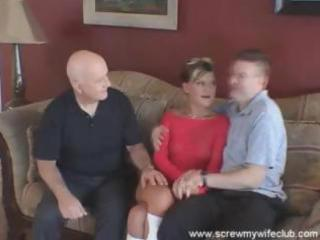 spouse watches as his youthful wife sucks and