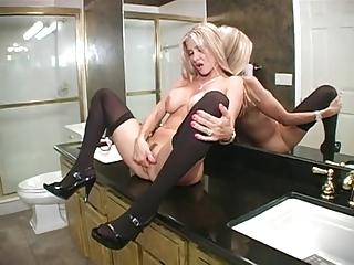 hot wife blows in washroom