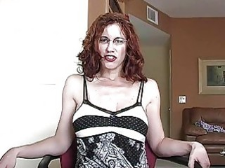 aroused redhead momma with glasses gets her