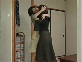 youthful japanese teen receives threesome lesbian