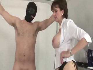 older european in nylons jerks tied up chap