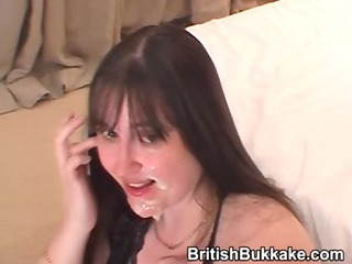chunky housewife gets cum on her face and throat