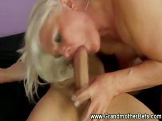 golden-haired granny rides a hard weenie