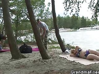 old blonde slut takes ramrods outdoors