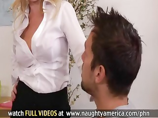 blond teacher is a cougar and receives