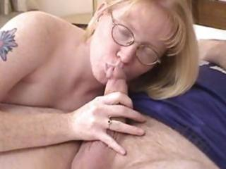 blonde milf wearing glasses blows and drilled