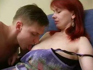 cute redhead russian mama receives a younger guy