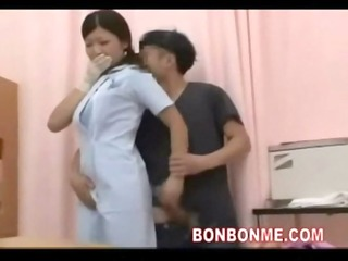 nurse tugjob to get next to his wife