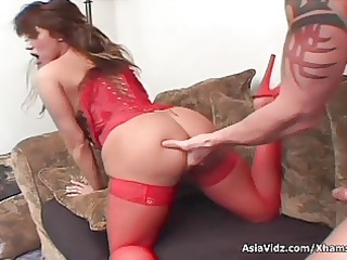 huge titted oriental pornstar in hawt red