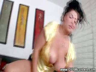 breasty cfnm chicks ride and engulf hard knob