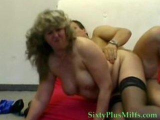 blonde granny in dark nylons
