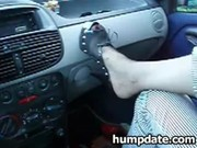Wife gives hubby handjob and footjob in their car