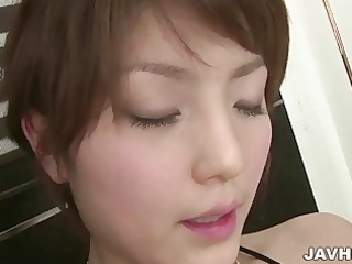 Japanese AV model Saori enjoys toying her pussy