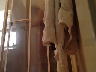 peeping on mom showering with door open