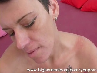 aged lady acquires a large facial
