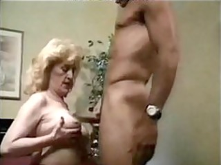 granny hot drilled in bed, with red high heels