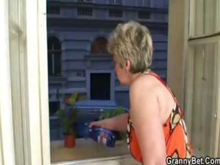 blonde granny gets youthful dudes jock in her