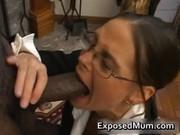 sexy milf in glasses deepthroating dark
