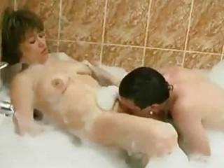 slutty mamma joins teen in the washroom