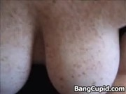 wife with large whoppers and frekles gives handjob