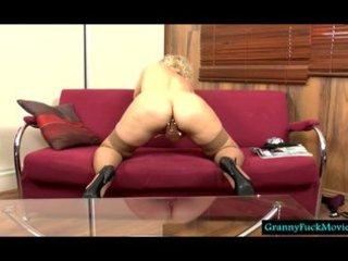 blonde granny filmed in solo act