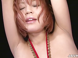 sara in bondage has her large mangos and soaked