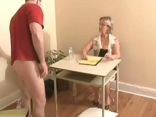 handjob ends with cumshot by large tittied