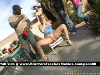 aged golden-haired doxy at a party receives a