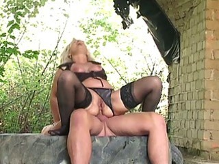 blonde granny group-fucked hard outdoors by