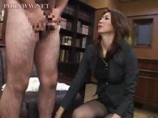 oriental mature sits on his face in the office