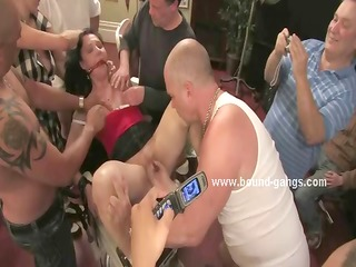 busty nerd tied in chains and humiliated in