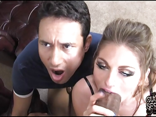 cuckold watching his bitch wife breeding by black