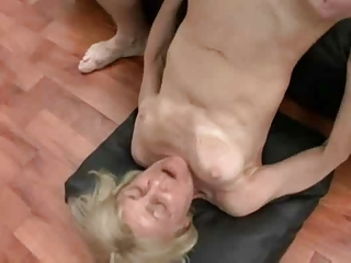 golden-haired granny in three-some sex by