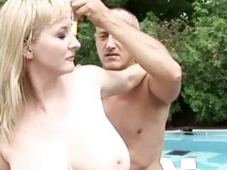 busty grandma enjoys sexy sex outdoor