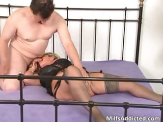lewd golden-haired mum blows rod and daughter