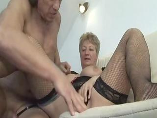 blond shorthair big charming woman-granny fucked