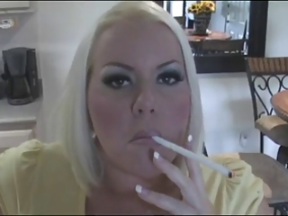 sexy breasty golden-haired milf smoking solo