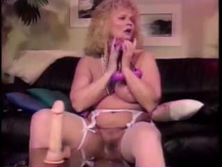 busty aged blond shablee plays with toys in both